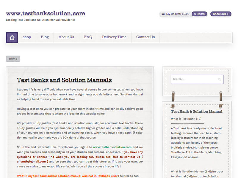 Where is solution of essay in test bank